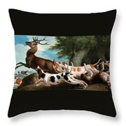 The Stag Hunt Throw Pillow