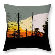 The Stained Glass Forest Throw Pillow