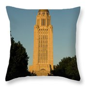 The State Capitol Building In Lincoln Throw Pillow