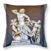 The Statue Of Laocoon And His Sons At The Vatican Museum Throw Pillow