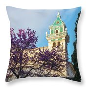 The Steeple Of The Valldemossa Charterhouse In Spring Throw Pillow