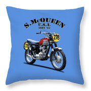 The Steve Mcqueen Isdt Motorcycle 1964 Throw Pillow