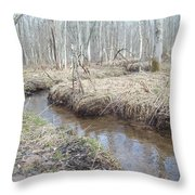 The Stickman By The Stream Throw Pillow by Carrie Viscome Skinner
