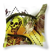 The Still Life With A Winter Rose Flower In A Macabre Style. Throw Pillow