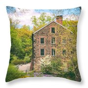 The Stone Mill In Spring Throw Pillow