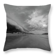 The Storm Rolling In To Good Harbor Beach Gloucester Ma Black And White Throw Pillow