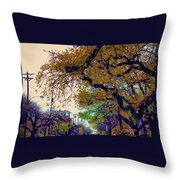 The Street Trees Throw Pillow