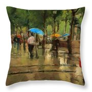 The Streets Of Paris In The Rain Throw Pillow