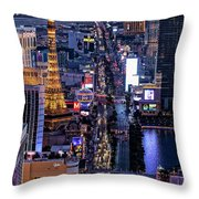 the Strip at night, Las Vegas Throw Pillow