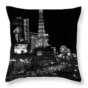 The Strip By Night B-w Throw Pillow
