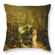 The Studio Of The Painter, A Real Allegory Throw Pillow