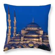 The Sultanahmet Or Blue Mosque At Dusk Throw Pillow