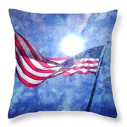 The Sun And The Flag Throw Pillow