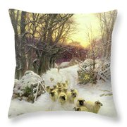 The Sun Had Closed The Winter's Day  Throw Pillow by Joseph Farquharson