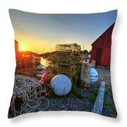 The Sun Rising By Motif 1 In Rockport Ma Bearskin Neck Lobster Traps Throw Pillow