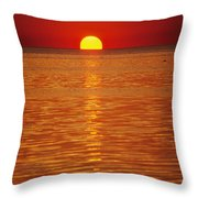 The Sun Sinks Into Pamlico Sound Seen Throw Pillow
