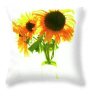 The Sunflowers In A Glass Vase. Throw Pillow