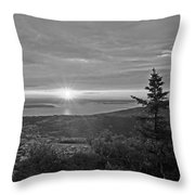 The Sunrise From Cadillac Mountain In Acadia National Park Black And White Throw Pillow