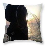 The Sunset Fisherman Throw Pillow