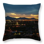The Sunset From Popago Park Phoenix Arizona Az Golden Throw Pillow