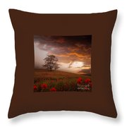 The Sunset Of The Poppies Throw Pillow