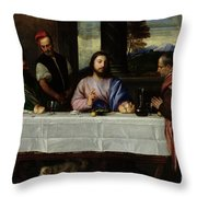 The Supper At Emmaus Throw Pillow by Titian