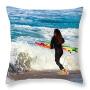The Surf Is Up Throw Pillow