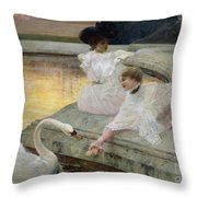The Swans Throw Pillow by Joseph Marius Avy