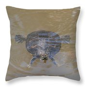 The Swimming Turtle Throw Pillow