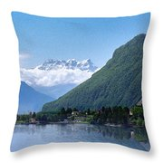 The Swiss Alps Overlooking Lake Geneva Throw Pillow