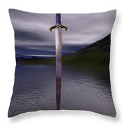 The Sword Excalibur On The Lake Throw Pillow