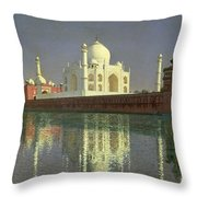 The Taj Mahal Throw Pillow by Vasili Vasilievich Vereshchagin