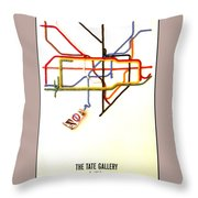 The Tate Gallery - National Galleries And Museums - London Underground - Retro Travel Poster Throw Pillow