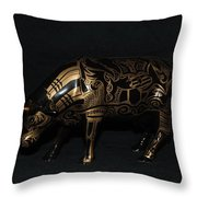 The Tattooed Cow Throw Pillow