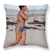 The Tattooed Lady Throw Pillow