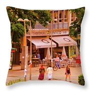 The Tavern On The Plaza - Spain Throw Pillow