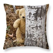 The Teddy Bear In The Woods Throw Pillow