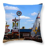 The Tee-pee Curios On Route 66 Nm Throw Pillow