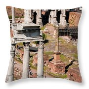 The Temple Of Castor And Pollux At The Forum From The Palatine Throw Pillow