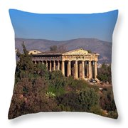 The Temple Of Hephaestus In The Morning, Athens, Greece Throw Pillow