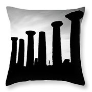 The Temple Of Hercules. Agrigento, Sicily.    Black And White Throw Pillow