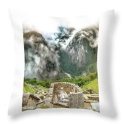 The Temple Of The Sun. Machu Picchu Throw Pillow