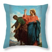 The Temptation Of Christ By The Devil Throw Pillow