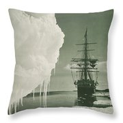 The Terra Nova At The Ice Foot Cape Evans Throw Pillow