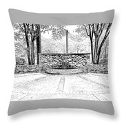 The Terrace In Black And White Throw Pillow