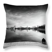 The Thinker And The Lake Throw Pillow