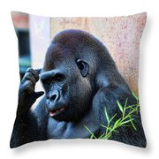The Thinking Gorilla Throw Pillow