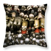 The Three Barts Throw Pillow