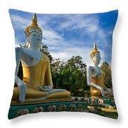 The Three Buddhas  Throw Pillow