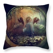 The Three Flowers Throw Pillow
